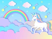 Unicórnio, nuvens, arco-íris e estrelas Imagens de Stock