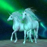 Unicórnios da aurora boreal ilustração do vetor