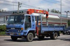 Unic V340 kran på den privata lastbilen Royaltyfri Foto