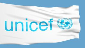 UNICEF flag waving in the wind stock footage