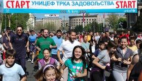 Unicef-Spaß-Lack-Läufer Belgrad Mrathon, Belgrad Stockfotos