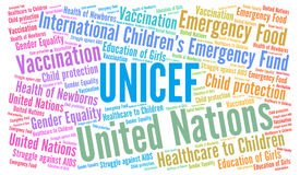 Unicef word cloud royalty free illustration