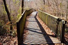 Unicoi State Park in Helen Georgia USA provides a series of wooden elevated walkways and bridges for hikers to enjoy views along. The scenic trails royalty free stock photo
