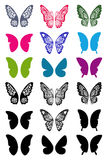 Unicolorous butterflies wings set Stock Photo