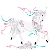 Unicorn. Hand drawn illustration of Unicorn. Drawn in Illustrator with charcoal brush and gradients to create an effect of traditional watercolor drawing Stock Photo