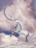 Unicorn. In the sky with moon