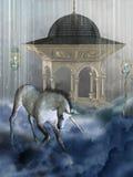 Unicorn. Magic unicorn in the dome of blue clouds Stock Image