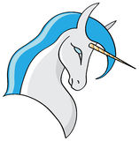 Unicorn. A blue unicorn symbol isolated on white Royalty Free Stock Photos
