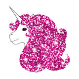 Unicorn with abstract sparkle pink glitter glowing mane. Shiny metallic style background for Valentine day card, poster, invitatio. N. Hand drawn  Illustration Stock Photography