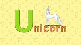 unicorn Alfabeto inglese dello ZOO - lettera U illustrazione vettoriale