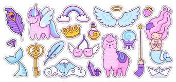 Free Unicorn, Alpaca, Mermaid, Cherry, Rainbow And Wings. Big Set Doodle Cartoon Style. Royalty Free Stock Photo - 178355165