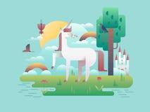 Unicorn Animal in Nature. Cartoon horse wild fantasy, stallion magic legend, vector illustration royalty free illustration