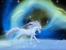Unicorn Aurora místico stock de ilustración