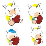 Unicorn baby cartoon heart set Stock Photo