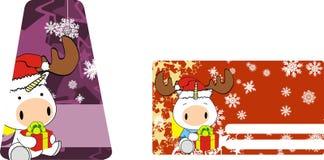 Unicorn baby claus cartoon xmas giftcard Royalty Free Stock Image