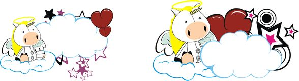 Unicorn baby cute angel cartoon cloud set Royalty Free Stock Image