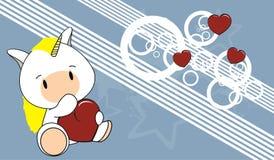 Unicorn baby love cartoon background Stock Photography