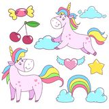 Unicorn badges set. Fashion badges with fairy tale animal, heart, star, cherry, candy and clouds. Cartoon comic style design eleme. Nts for girls royalty free illustration