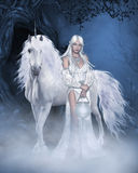 Unicorn and beautiful Fairy. Fantasy scene with a white unicorn and a beautiful fairy in a white dress, with white hair and a lamp in his hand against the Stock Photography