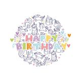Unicorn birthday card Royalty Free Stock Images