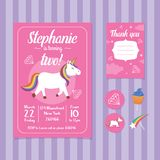 Unicorn Birthday Invitation Card Template Illustrazione Vettoriale