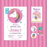 Unicorn Birthday Invitation Card Template con Unicorn Head Illustration Royalty Illustrazione gratis