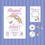 Unicorn Birthday Invitation Card Template con l'illustrazione dell'arcobaleno e dell'unicorno Royalty Illustrazione gratis
