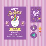 Unicorn Birthday Invitation Template with Cute Unicorn Face Illustration stock illustration
