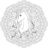 Unicorn Tattoo Coloring Page Stock Photos
