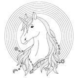 Unicorn Tattoo with Rainbow. Unicorn black and white tattoo with rainbow, coloring page Royalty Free Stock Photo