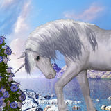 Unicorn and Blue Bell Flowers Stock Photography