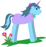 Unicorn Blue with Flowers Stock Photo