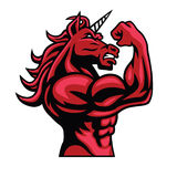 Unicorn Bodybuilder Muscular Body Royalty Free Stock Photo