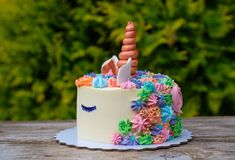 Unicorn cake on natural green background. Beautiful unicorn cake on green foliage background on wooden table royalty free stock photo