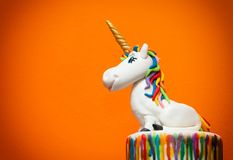 Unicorn cake topper. Made with in sugar paste or Fondant royalty free stock photos