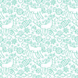 Unicorn. Candy and cupcakes. Seamless  pattern background. Stock Photography