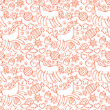 Unicorn. Candy and cupcakes. Seamless  pattern background. Stock Images