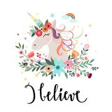 Unicorn card design with hand drawn elements Stock Photography