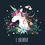 Unicorn card design with hand drawn elements Stock Photo