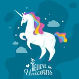 Unicorn Cartoon Background royaltyfri illustrationer