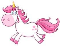Unicorn Cartoon Mascot Character Running mágico lindo Imagen de archivo