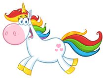 Unicorn Cartoon Mascot Character Running magique mignon Photo libre de droits