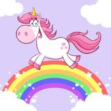 Unicorn Cartoon Mascot Character Running magique mignon Images stock