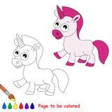 Unicorn Cartoon Pagina da colorare Immagini Stock