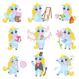 Unicorn Cartoon Set doux Image stock