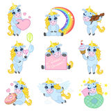 Unicorn Cartoon Set mignon Photographie stock libre de droits