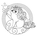 Unicorn cat on a cloud in a round frame. Cute kitten with mane and horn. Black outline coloring book clip art. Vector