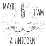 Unicorn cat,Funny Hand drawn design for t-shirt or greeting card