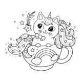Unicorn cat lies in a cup. Black and white image. For coloring. Vector