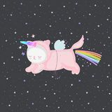 Unicorn cat in the sky vector. Cute pink unicorn cat with a rainbow and magical horn in the night sky, and stars. Funny flying comic character for design stock illustration